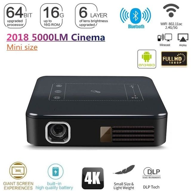 "Cheap OTHA 4K DLP HD Mini Portable Projector 200 ANSI Home Theater Projector Wifi 1080P Mini Android Cinema 2G+16G 200"" Picture"