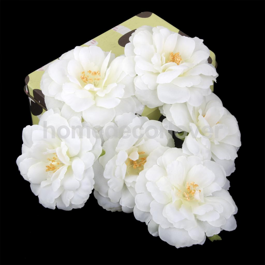 Flower heads for crafts - 10pcs Camellia Artificial Silk Flower Heads Wedding Decoration Craft White China Mainland