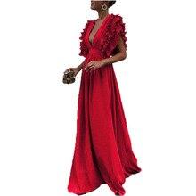 купить NiceMix Ladies' new style Butterfly sleeve V collar dress plain dress with naked back European and American women's lotus leaf дешево