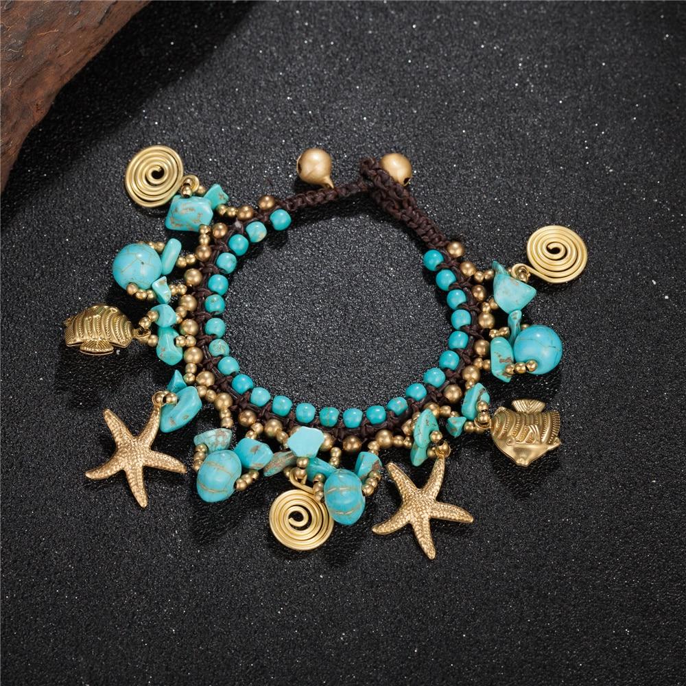Handmade New Design Vintage Green Stone Starfish Fish Alloy Shaped Charm Bracelet Female Bohemia Bracelets For Women