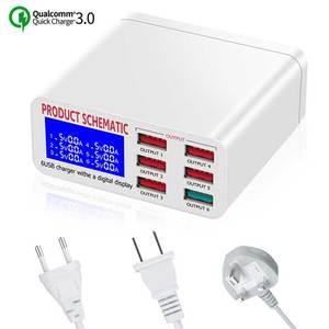 QC 3,0 мульти 6 портов зарядная станция для iphone xs xr samsung универсальный ЖК-экран Быстрая зарядка usb док-станция для xiaomi huawei