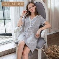 QIANXIU 2019 woman nightgowns sexy v neck elegant lace sleepwear women Regenerated bamboo fiber nightdress ladies nightwear