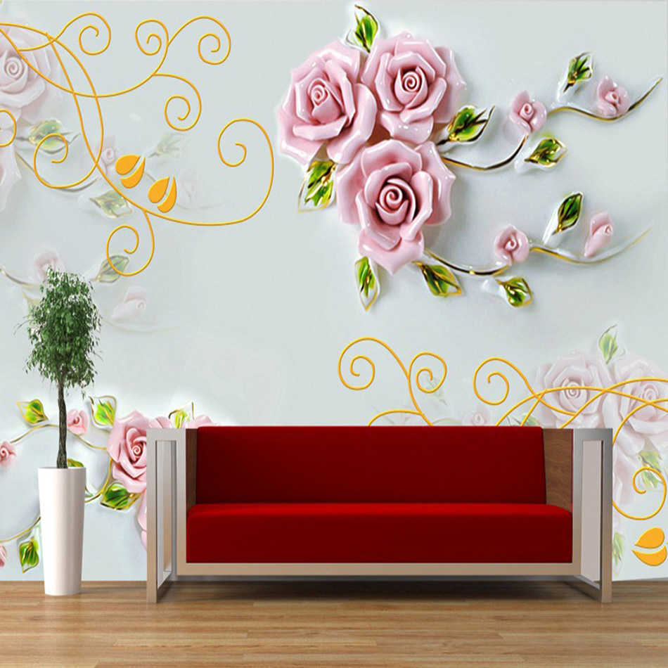 fantasie rosa chinesische rose blossom tapete rollt hotel wohnzimmer schlafzimmer gebude wand dekorchina - Rosentapete Schlafzimmer