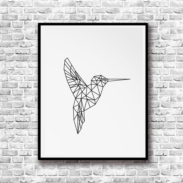 geometric hummingbird canvas painting animal poster print nordic black wall art picture for kids living room