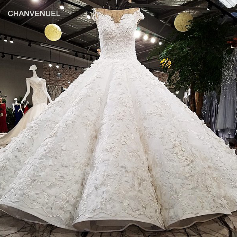 LS64451 luxury puffy ball gown luxury cap sleeves super big skirt beading appliques real pictures show wedding dress with train Платье