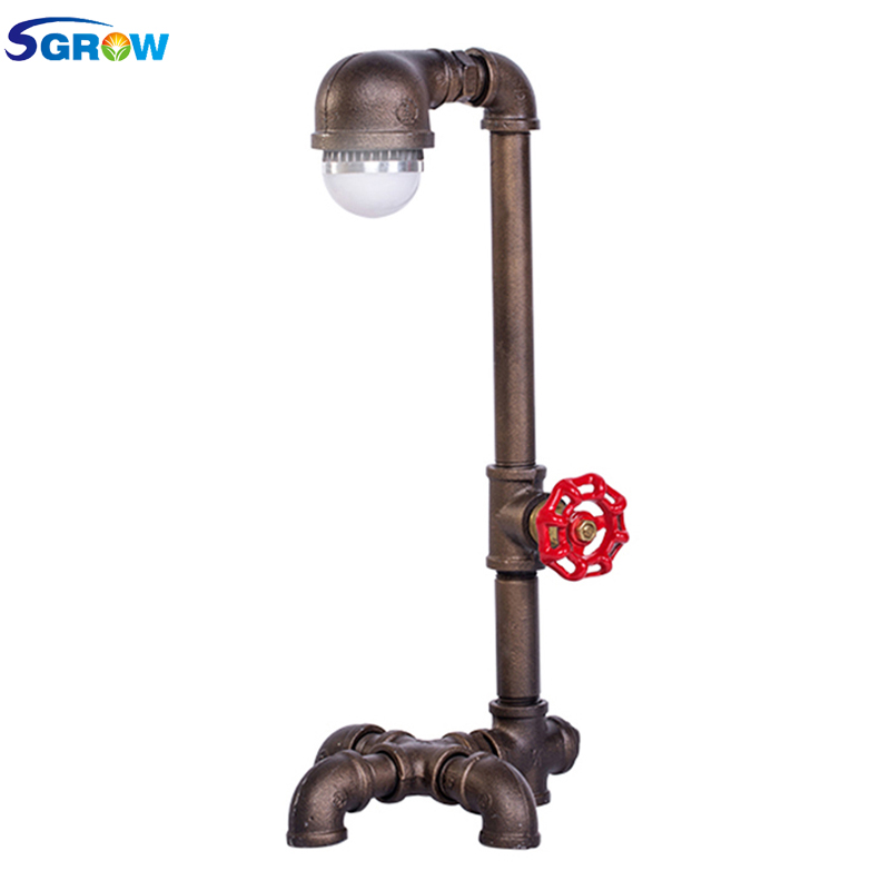 SGROW Loft Industrial Desk Lamp Iron Pipe Table Lamp E27 LED Bulb Lights for Bedroom Lamps Creative Design Decorative Desk Light 5w e27 led 3d light bulb creative colorful decorative lamp