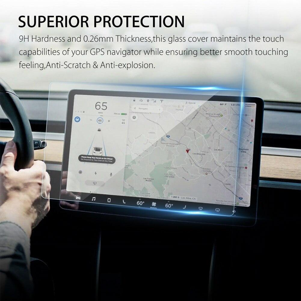 1 pièces 15 pouces protecteur d'écran de voiture clair verre trempé protecteur d'écran pour Tesla modèle 3 Protection de Navigation livraison directe