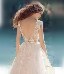Image 3 - Bow Belt Back Scoop Neckline Illusion Tulle A line Wedding Dress with Lace Appliques Sweep Train Zipper Bridal Dress