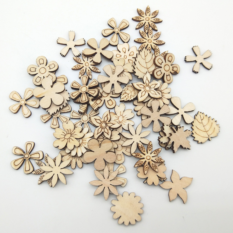 WISHMETYOU 50pcs Flowers Flowers Plant Grass Wooden Pattern Diy Crafts For Handmade Scrapbooking Art Collection Accessories Find in Wood DIY Crafts from Home Garden