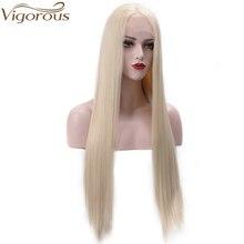 Энергичный длинный шелковый прямой блондин парик Синтетический кружевной передний парик для женщин натуральный средний пробор черные розовые волосы
