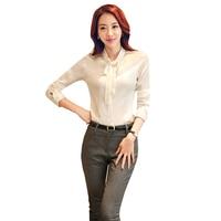 2017 Women Shirt Chiffon Blouses Long Sleeve Office Work Wear Vintage Top Bow Slim Femininas Tops