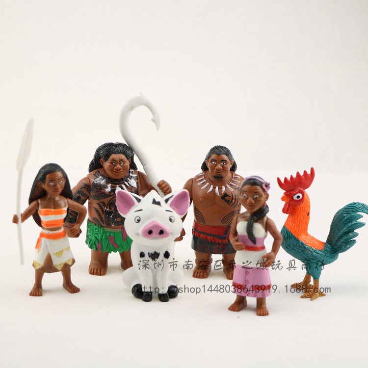 ФОТО 6pcs/set 6-12cm moana princess maui chief tui tala heihei pua action figure brinquedo toys for children new year gift