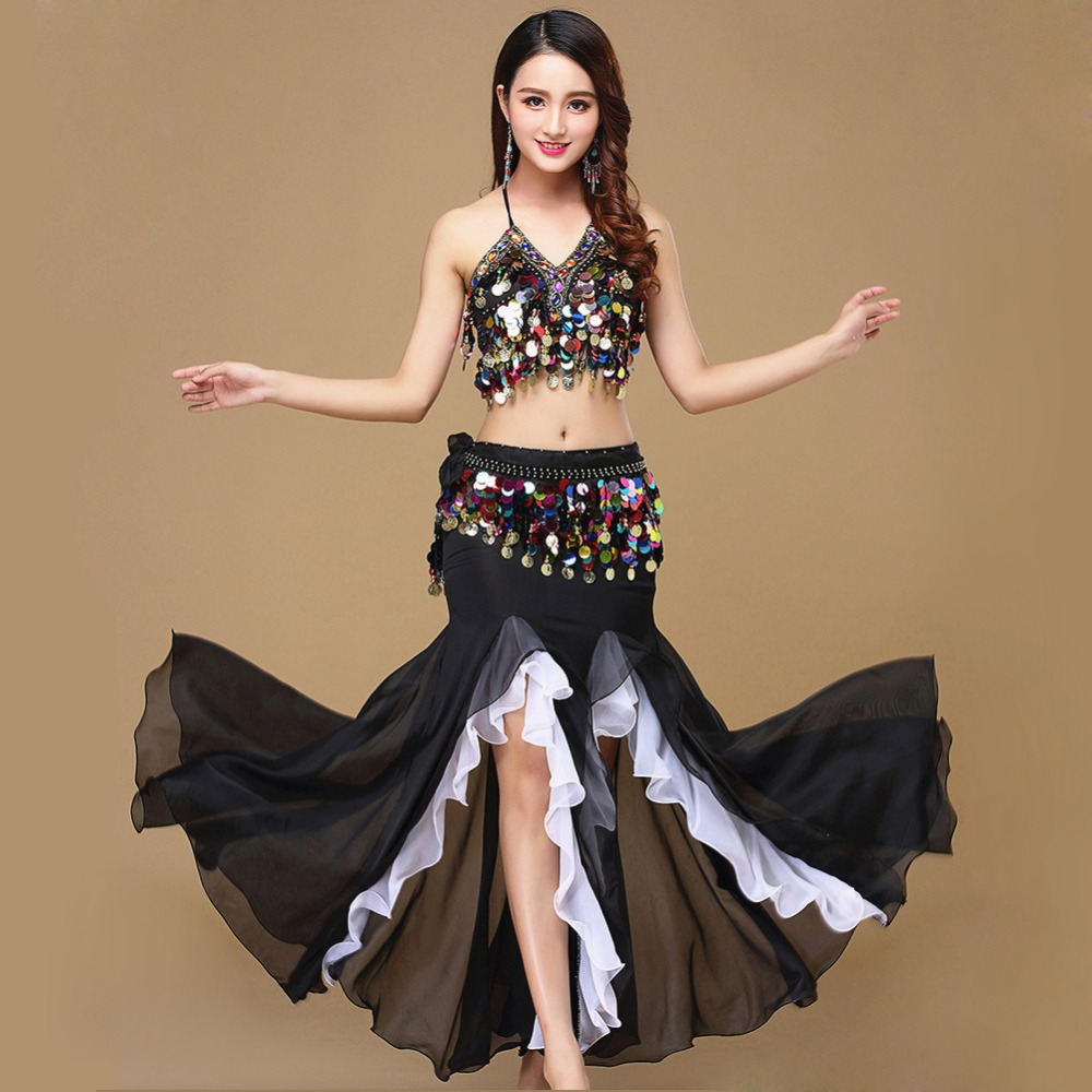 10 Colors Belly Dance Skirt Costume Women Dance Coins Tops For Slim Gilrs Bellydance Sequins Beaded Outfits Bra Belt Skirt