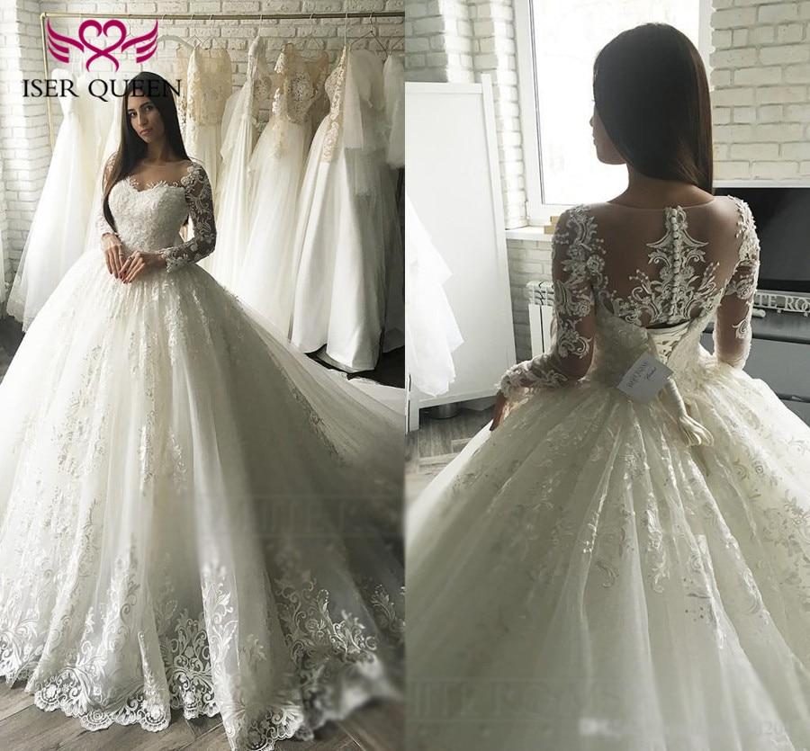 Vintage Embroidery Arab Dubai Wedding Dress 2019 long Sleeve Plus Size Appliques Tulle White Ball Gown Wedding Dresses  W0349