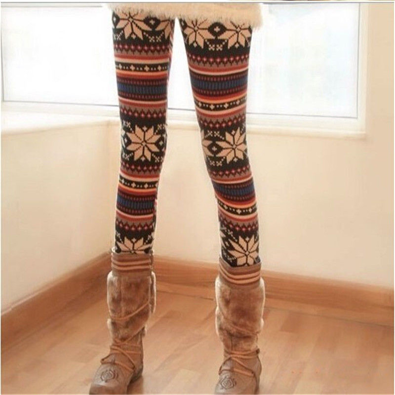 Christmas New Stylish 2017 Winter Women Snowflake Reindeer Knitted Leggings Skinny Pencil Pants Trousers  Leggings