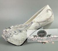 10 см 8 см супер Обувь на высоком каблуке на платформе белые кружевные свадебные туфли невесты HS311 ручной работы Роскошные блестящие вызвало