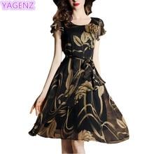 YAGENZ Women Chiffon Dress Summer Dress New Womens Clothing Fashion Short Sleeves Printing Dress Women's Black Chiffon Dress 151