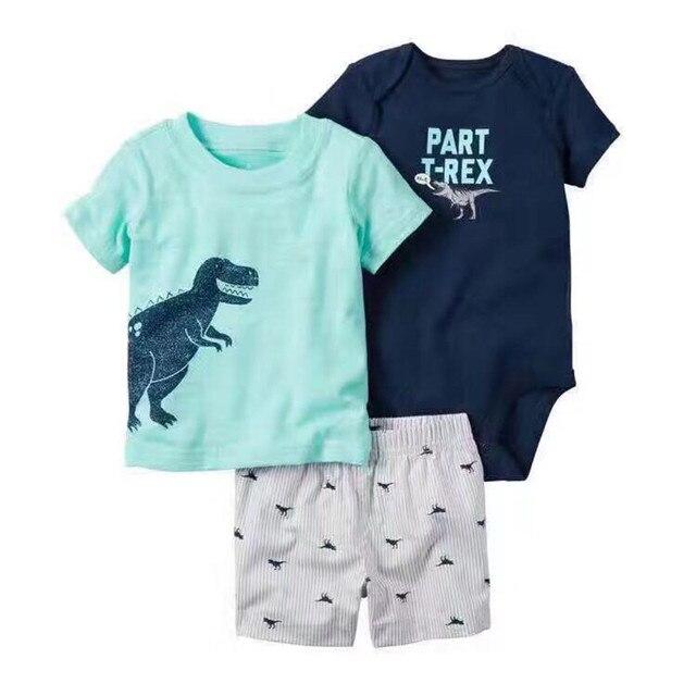 3 Шт. Оригинальные Мальчиков Динозавр Автомобиль Шаблон clothing, (боди + короткий рукав Футболки + шорты) летние дети Одежды наборы