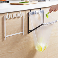 Foldable Sturdy Iron Over Cabinet Door Garbage Bag Organizer Storage Rack For Kitchen Plastic Trash Bag