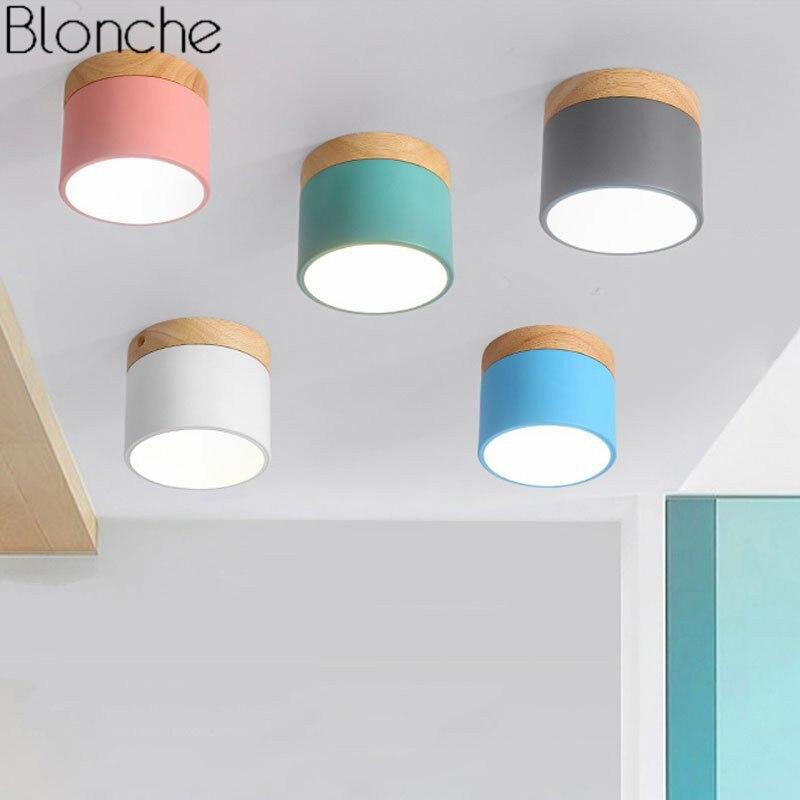 Nordic Eisen Holz Decke Lichter Moderne Led-deckenleuchte Für Wohnzimmer Schlafzimmer Leuchte Veranda Gang Korridor Leuchten