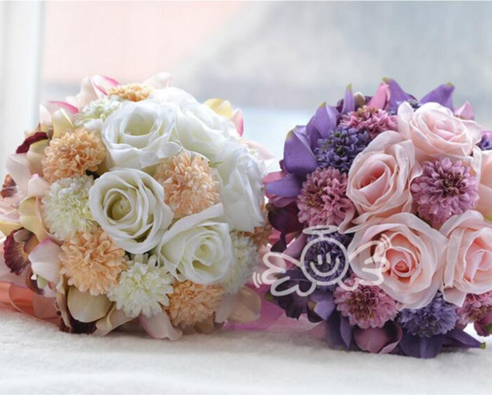 Romantic Purple Flowers Bridal Wedding Bouquet Handmade Silk Flower