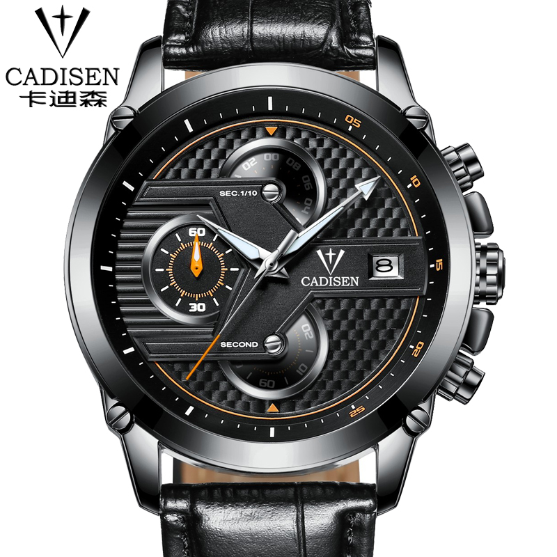 2016 new style Chronograph Luminous Mens Watches Mans Leather Luxury Brand Military Wristwatches Hour Clock with