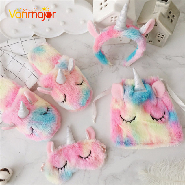 7a9a9919a8a Vanmajor Creative colorful plush shoes unicorn female slippers headband  eyewear bundle pocket plush toys