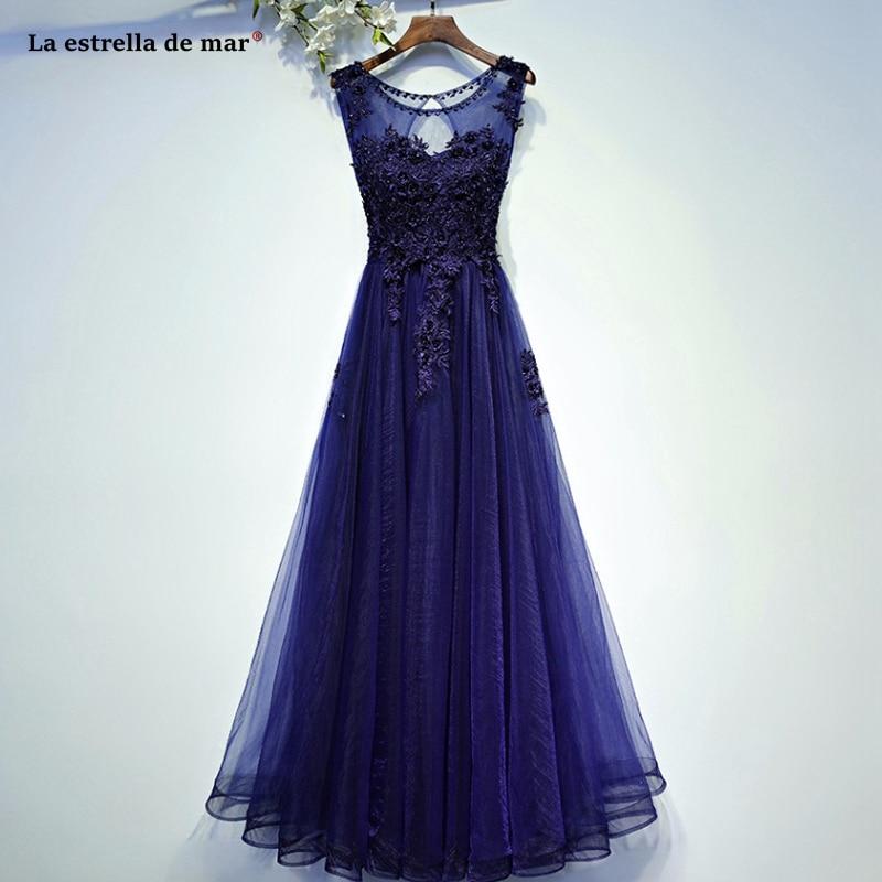 Robe Demoiselle D'honneur Pour Femme2019 New Tulle Beaded Back A Lina Royal Blue Burgundy Wedding Party Dress Long Vestido Madri