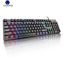 Game Wired Gaming Keyboard Mechanical Feel 104 Key Suspension Cap Rainbow Backlit Waterproof Keyboard for Computer PC Laptop