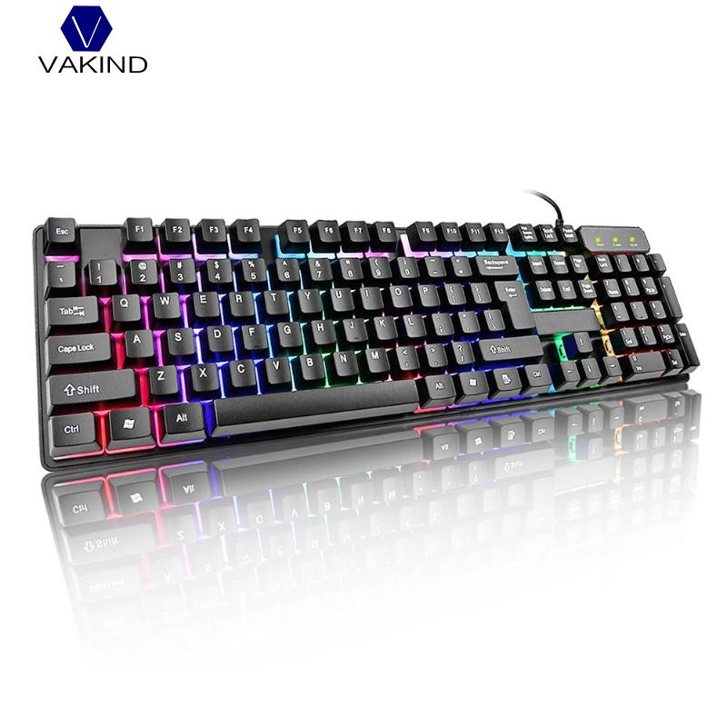 VAKIND USB Wired Gaming Keyboard 104 Key Suspension Cap Rainbow Backlit Waterproof Keyboard for Computer PC Laptop delog dy 703 waterproof usb wired 107 key gaming keyboard