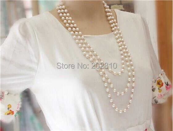 Mada Keturi sezonai dėvėti 3 sluoksnio stulpelio perlų megztinis - Mados papuošalai - Nuotrauka 3