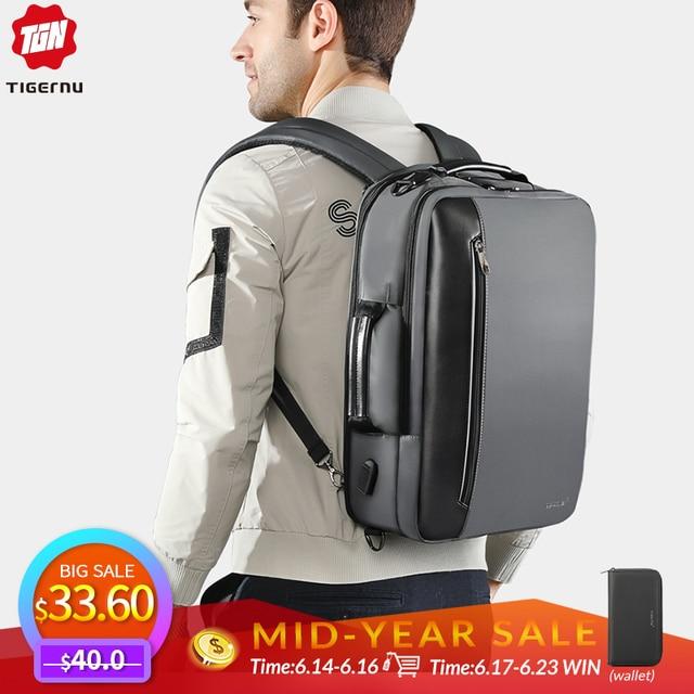 Tigernu 4 em 1 Multi função Nylon Mochilas ombro dos homens de Negócios 15.6 polegada de Carregamento USB Laptop Bagpack Masculino Mochila bolsa de viagem
