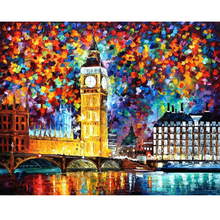 Hand Painted Landscape Abstract Big Ben London Palette Knife Modern Oil Painting Canvas Wall Art Living Room Artwork Fine Art