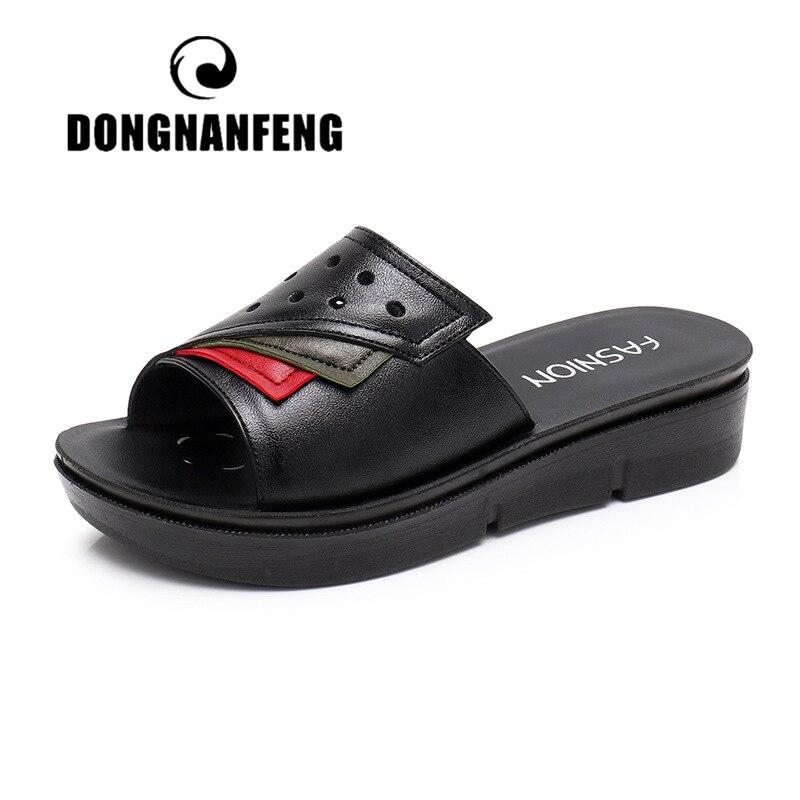 Женские сандалии без шнуровки DONGNANFENG, летние сандалии из натуральной коровьей кожи, Размеры 35-41, HD-D23