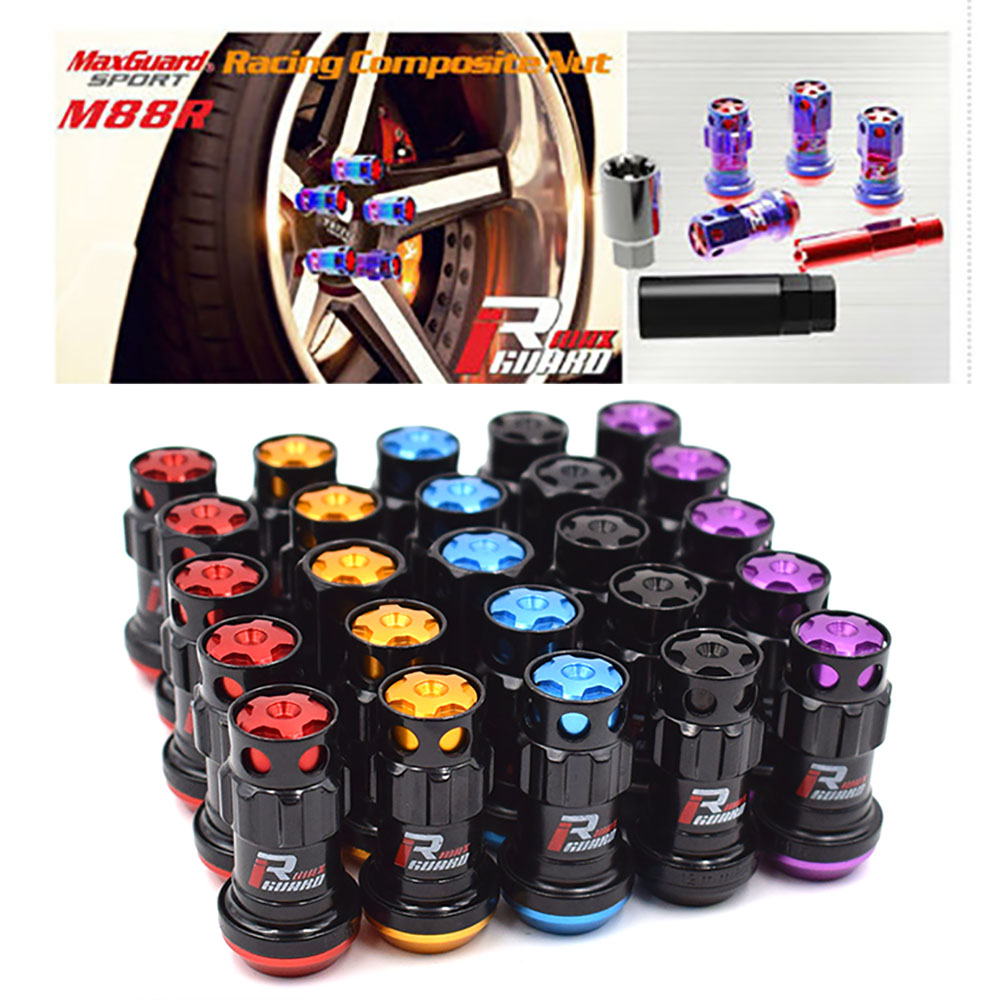 20pcs//set Three-in-one Red Racing Composite M12x1.5 Car Wheel Rims Lug Nuts
