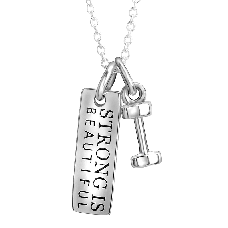 Fitness Jewelry 925 Sterling Silver Pendant Tag and Dumbbell two tone Choker Strong is Beautiful Charm