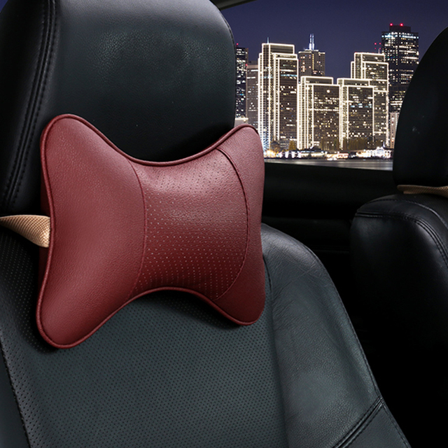 2018 brand new arrival car neck pillows both side pu leather single headrest fit for most cars filled fiber universal car pillow