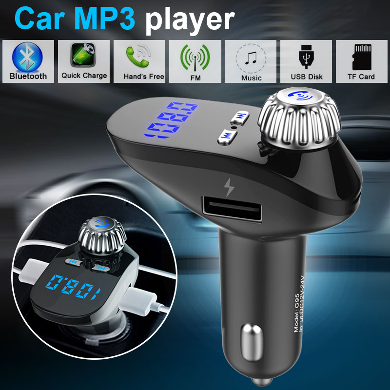 Vehemo Car FM Transmitter Bluetooth Receiver Wireless Radio Adapter USB Charger MP3 G95 Music Car Kit Voltage Detection