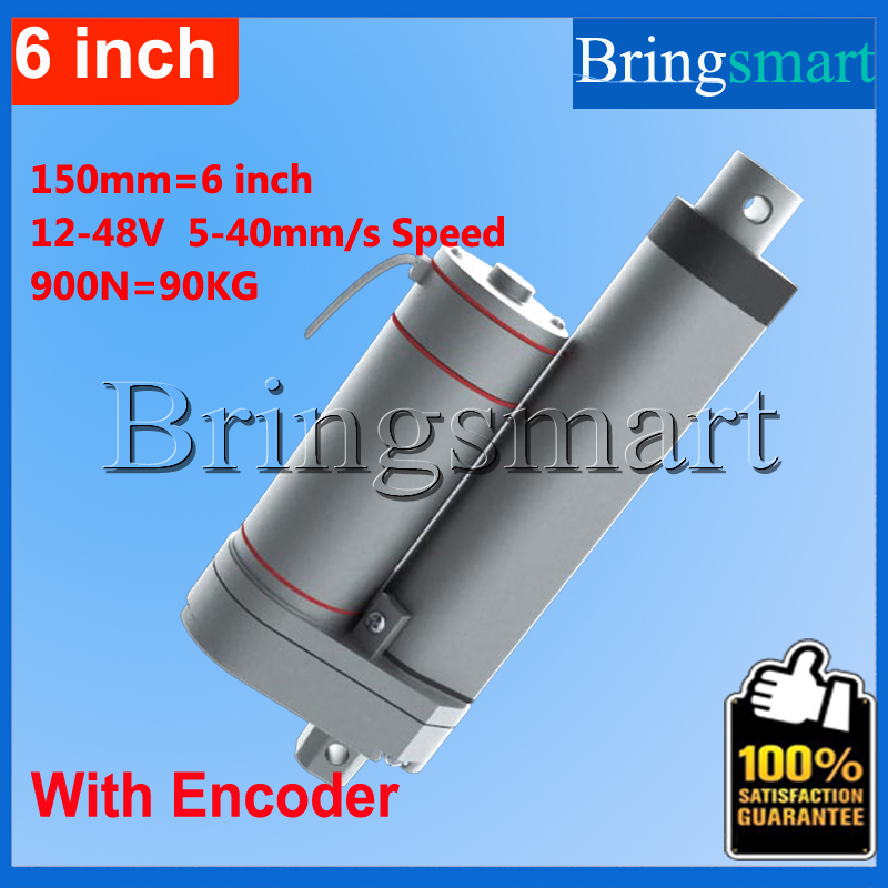 ФОТО Bringsmart Hot L-TGA-Y 150mm 6Inch electric linear actuator with Encoder 900N 90KG load 12-48V Tubular Motor Stroke