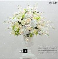 Роскошный белый Искусственный Свадебные Цветочная композиция диаметр 60 см букет, свадебный цветок украшение стола центральным 4 шт./лот