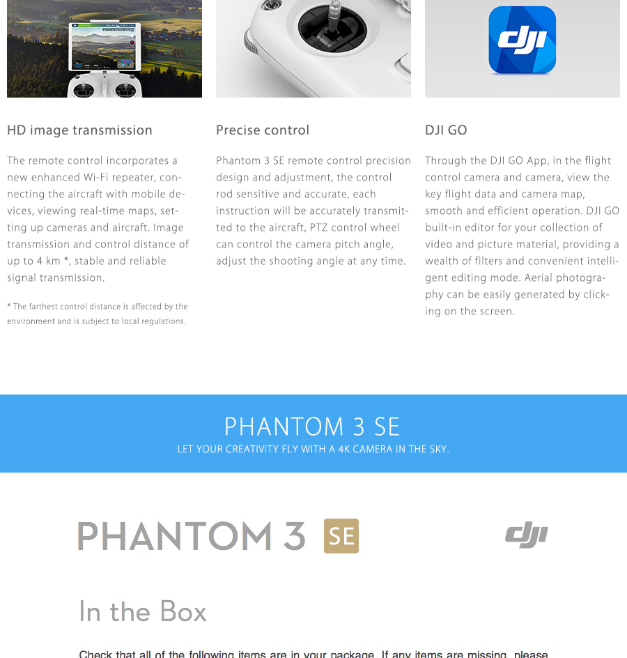 DJI Phantom 3 SE Drone With 4K HD Camera & Gimbal RC Helicopter Brand New P3 GPS System Drone free shipping