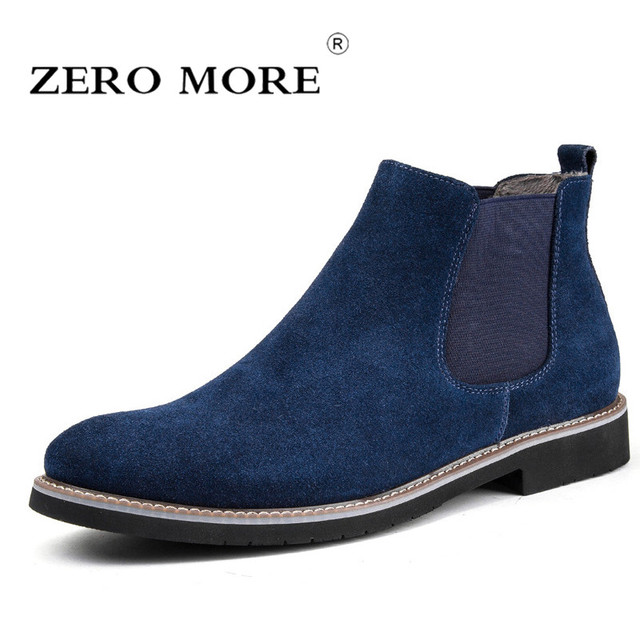 ff500d2e24f3d ZERO MORE Chelsea Mens Boots Short Plush Winter Shoes Men Slip On Split  Leather Ankle Boots Men Cow Suede Round Toe Men Boots