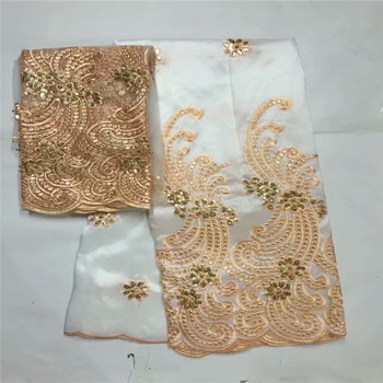 Nigerian lace fabrics for wedding 2018 george lace african lace fabric high quality 2018 beaded lace braid white+gold     zgl5-1
