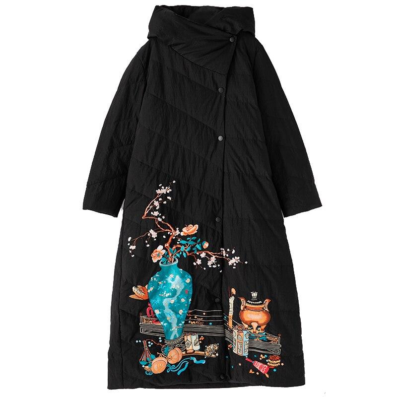 Duvet Bas Femelle Long Outwear dark Blue Black Manteaux Canard Vintage Femmes Vase Top Chaud Qualité À Hiver 2018 Broderie Nouvelle Vers Parka De Le Blanc Capuche wcx1OC