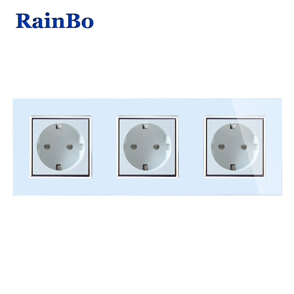 цена на RainBo Brand Manufacturer Wall power Socket EU Standard Crystal Glass Panel AC 110~250V 16A 222*80mm Wall Socket A38E8E8EW/B