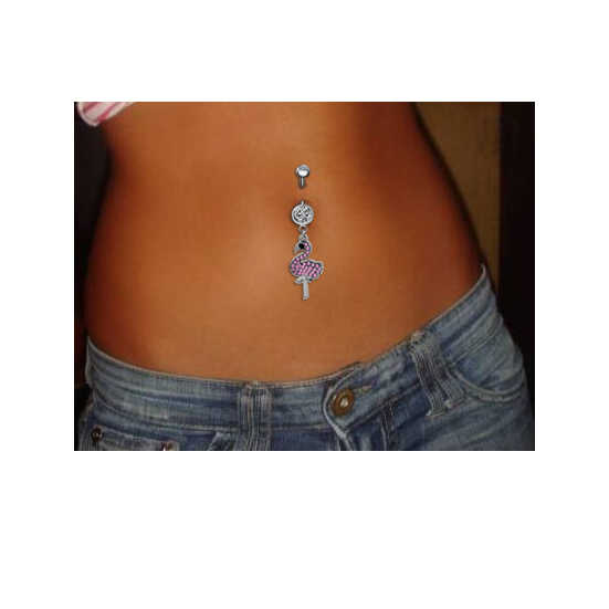 Body Punk Summer Hot Steel Pink Cz Flamingo Body Piercings Jewelry Navel Ring Belly Button Rings Fake Percing Ombligo Nombril