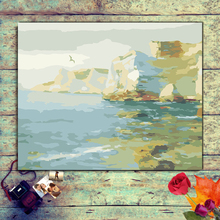 paintings by numbers on canvas Coast scenery with paints Diy painting  hand painted picture
