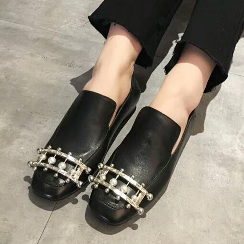 Woman Loafers Med Heel Pearl Decor Woman Shoes Metal Embellished Woman Pumps Square Toe Slip On Shoes Women Chic Zapatos Hombre chic metal bar embellished full frame sunglasses for women