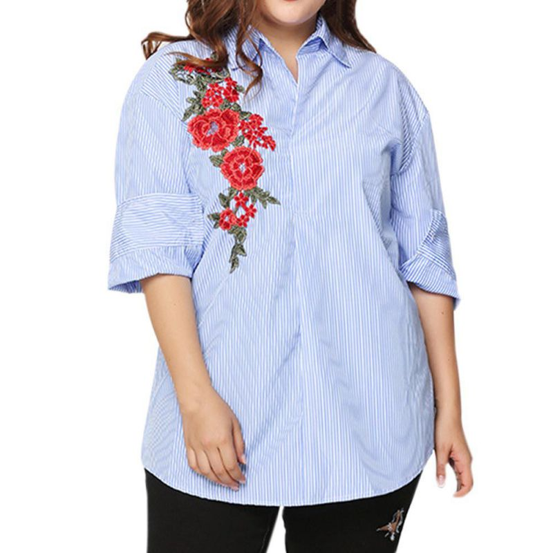 White Rose Embroidery Blouse Shirt Women Long Sleeves shirt Original Design Striped Butt ...