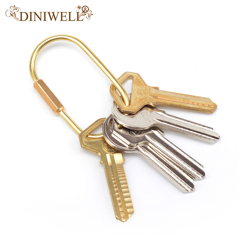 DINIWELL Nordic Style Copper Key Ring Storage Holder Simplicity Style KeyChains For Man Woman